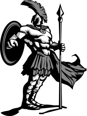 spear: Strong Greek Spartan or Trojan Soldier Mascot holding a spear and sword