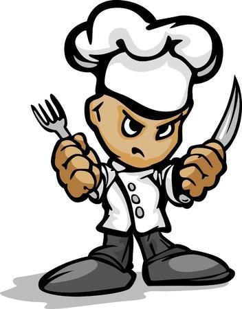 결정된: 레스토랑 요리사 또는 결정된 얼굴 쿡 마스코트 요리사 모자를 착용하고 Utinsils 만화 이미지 요리 개최 일러스트