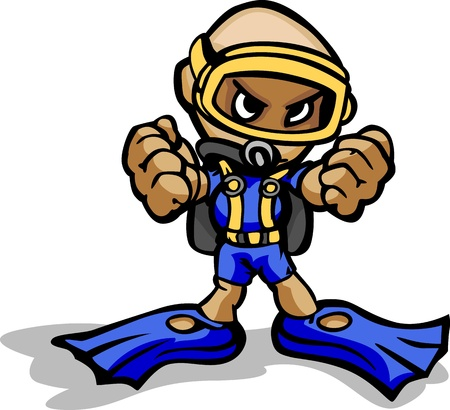 diver: Cartoon Illustration of a Scuba Diver with Mask and Gear