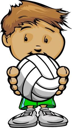 Cartoon Illustratie van een Cute Kid Volleybal-speler met Handen die Bal