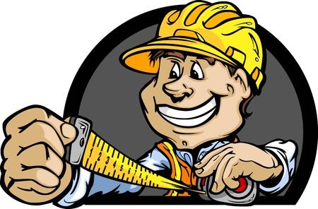 handy man: Professionale Handy Man con la misura di nastro e Illustrazione Hard Hat Vettoriali