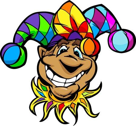 giullare: Cartoon giullare del re con la faccia sorridente che porta divertimento variopinto del fumetto immagine Cappello