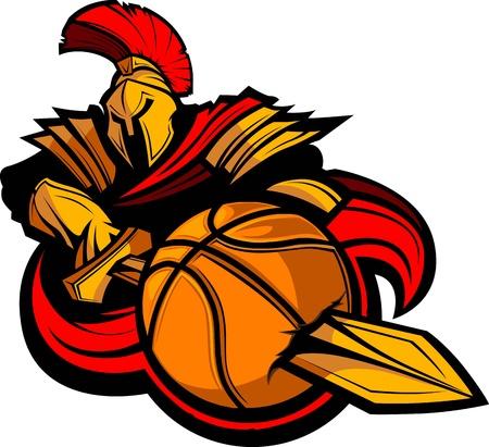 ballon basketball: Grec spartiate ou soldat romain Stabbing un ballon de basket-ball