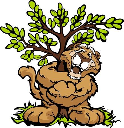 Tree Hugger Mountain Lion or Cougar Cartoon  Illustration