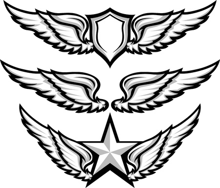 shield wings: Shield and Wings Emblems  Illustration