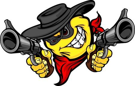 wild wild west: Bandit Sorriso Vector Image Faccia Mirare Illustrazione Guns