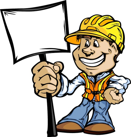 handy: Professional Handy Man with Sign and Hard Hat Vector Illustration