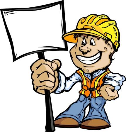 handy man: Professionale Handy Man con il segno e Hard Hat illustrazione vettoriale