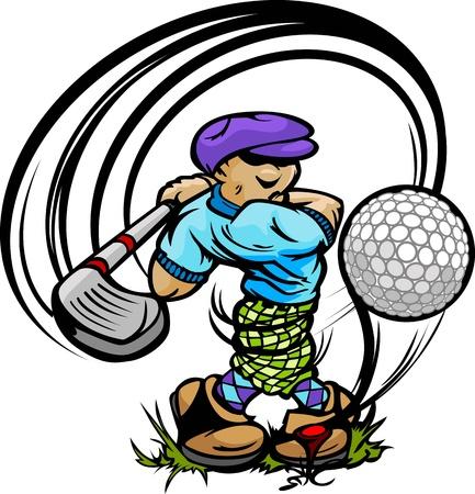 Cartoon jugador de golf golpeando la bola con la bola de golf en el conductor y el Tee ilustración vectorial