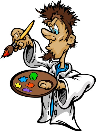 Cartoon  Image of a creative Artist Painter Holding a Paint Brush