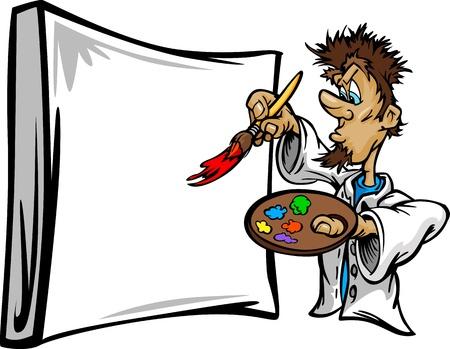 Cartoon un'immagine vettoriale di un creativo artista pittore che tiene un pennello a una tela