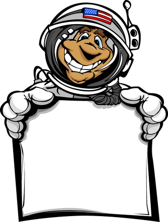 Cartoon Image of a Happy Astronaut Spaceman Head Holding a Sign Vector