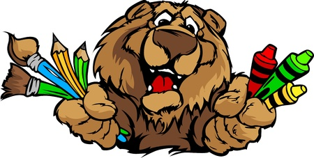Kindergarten School Bear with crayons and paint brushes, and art supplies in Paws Smiling Illustration