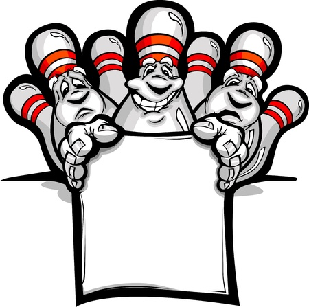 bowling: Cartoon  Image of a Happy Bowling Pins Holding a Sign