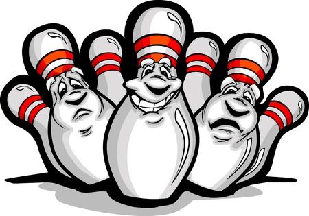 boliche: Imagem dos desenhos animados de um sorriso feliz dos pinos de bowling Ilustração