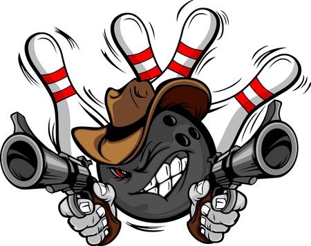 Bola de bolos cara de dibujos animados con el sombrero de vaquero de puntería con armas de bolos de boliche detrás de él