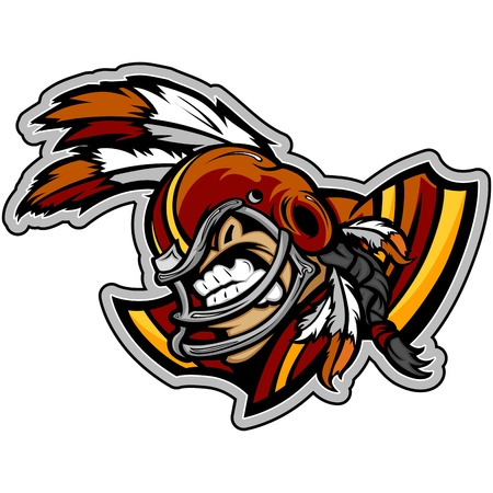 reciever: Graphic  Sports Illustration of a Snarling American Football Indian Brave  with Feathers on Football Helmet Illustration