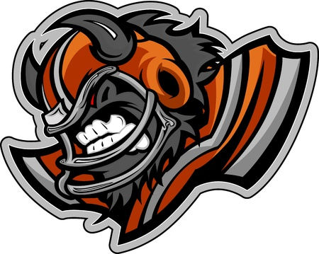 snarling: Graphic  Sports lmage of a Snarling American Football Buffalo with Horns on Football Helmet Illustration