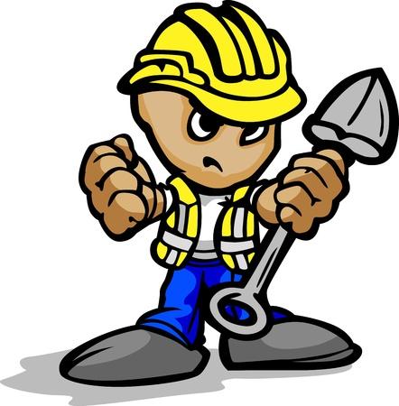 결정된: 결정된 얼굴과 삽과 안전모 만화 이미지와 함께 건설 노동자
