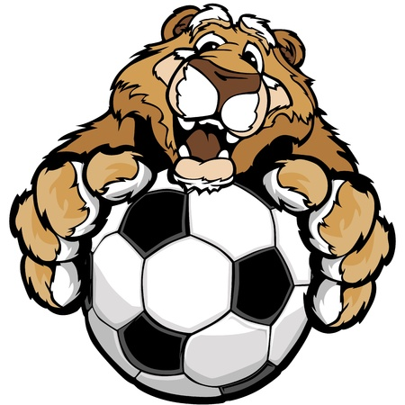lion claw: Graphic Mascot Image of a Friendly Cougar or Mountain Lion with Paws on a Soccer Ball Illustration