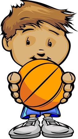 Cartoon Illustration of a Cute Boy Basketball Player with Hands Holding Ball Vector