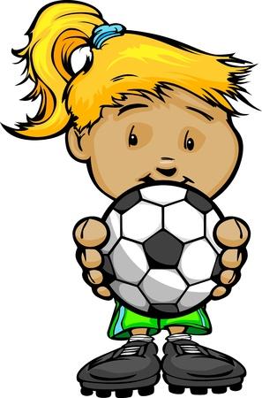 Cartoon Illustratie van een Cute Girl Soccer speler met Handen Houden Ball Stock Illustratie