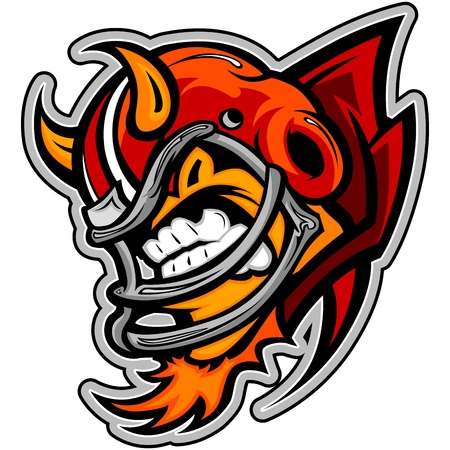 Graphic Sports lllustration of an American Football Devil or Demon Mascot with Horns on Football Helmet Vector