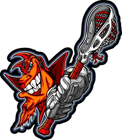 Graphic Image of a Red Devil with Lacrosse Gloves holding Lacrosse Stick 矢量图像