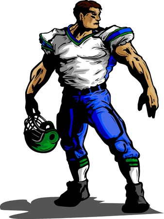 Graphic Vector Image of a Strong Football Player Wearing a Uniform Holding a Football Helmet