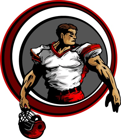 buff: Silhouette of a Football Player Holding His Helmet Illustration