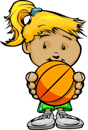Cartoon Vector Illustration of a Cute Girl Basketball Player with Hands Holding Ball
