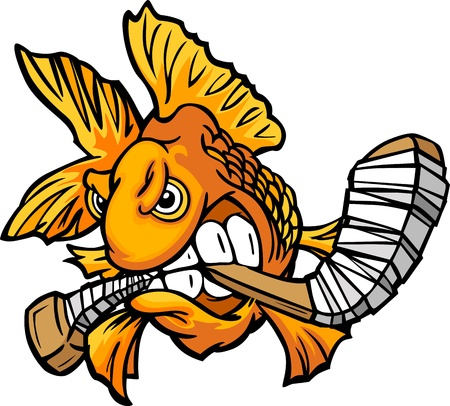 Cartoon Vector Image of an Angry Goldfish with Hockey Stick  Illustration
