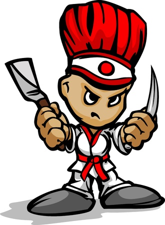 Hibachi Grill Chef with Determined Face and Cooking Utinsils Cartoon Image
