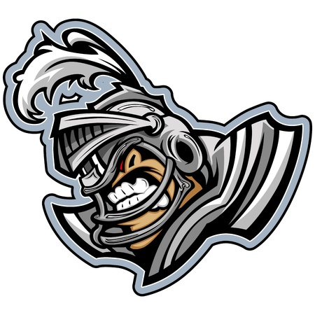 Graphic Sports lmage of a Snarling American Football Medieval Knight with Armor on Football Helmet Stock Vector - 18252823