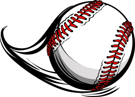 Illustration of Softball or Baseball with Movement Motion Lines