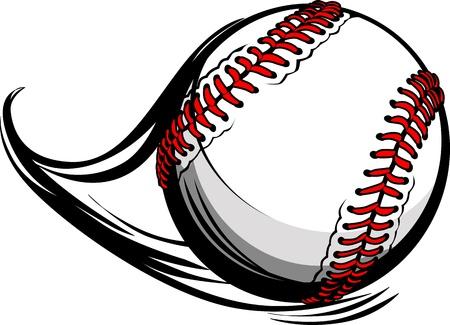 Ilustración de softbol o béisbol con las líneas de movimiento