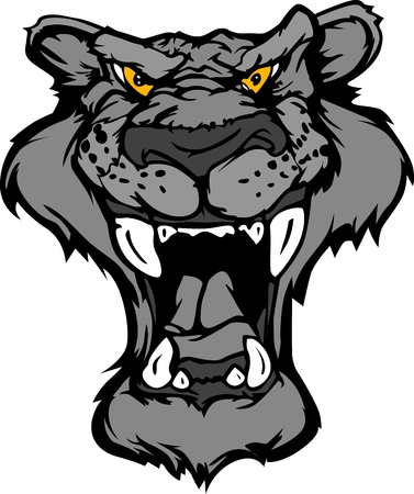 growling: Cartoon  Image of a Black Panther Growling