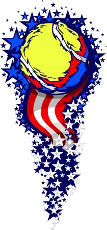 Stars and Stripes Fireworks Patriotic Tennis Ball Illustration Vector