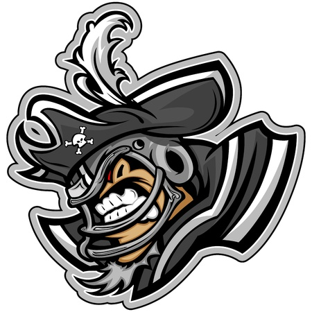 raider: Graphic Sports lllustration of a Snarling American Football Raider Pirate with Hat on Football Helmet