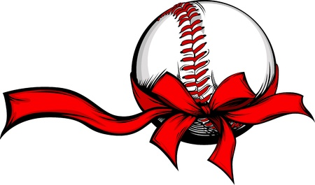 Baseball Wrapped with Red Christmas Ribbon for Winter Holidays Stock Illustratie