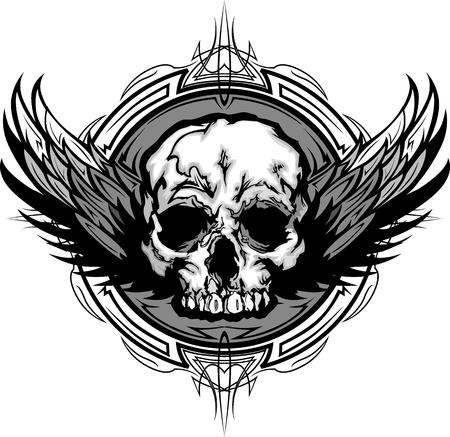 Graphic Winged Skull on Tribal Background Illustration