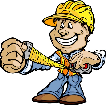 cinta de medir: Handyman Profesional Trabajador de construcción con la cinta métrica y la Ilustración Hard Hat Vector