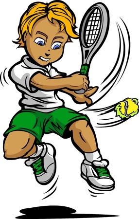 hitting: Tennis Boy Cartoon giocatore con la racchetta colpisce la sfera di Illustrazione
