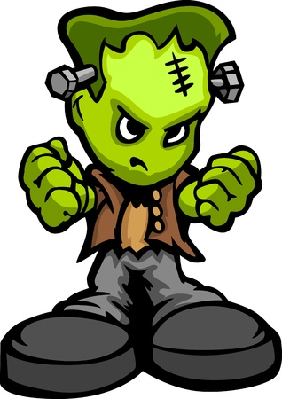 Monster with Determined Face and Ball and Chain Cartoon  Image
