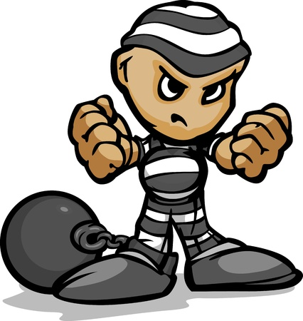Prisoner or Criminal with Determined Face and Ball and Chain Cartoon Image