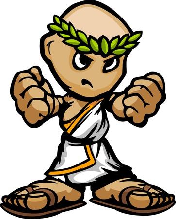 결정된: 그리스어 또는 결정된 얼굴과 토 만화와 로마