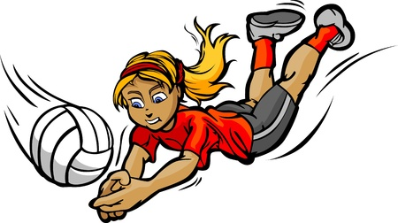 Image of Female Volleyball Player Diving for a Volleyball Vector