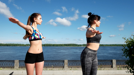 Two girls in sports workout