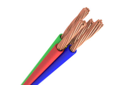 Copper cable - Four isolated wire copper cable on white background Stock Photo