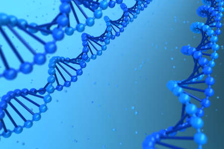 Three DNA helix magnified - high quality render